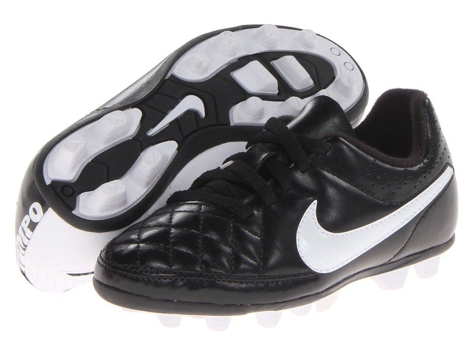Nike Kids - Jr Tiempo Rio II FG-R Soccer (Toddler/Little Kid/Big Kid) (Black/Black/White Multi Snake) Kids Shoes