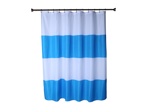 InterDesign - Zeno Waterproof Fabric Shower Curtain (Azure/White) Bath Towels