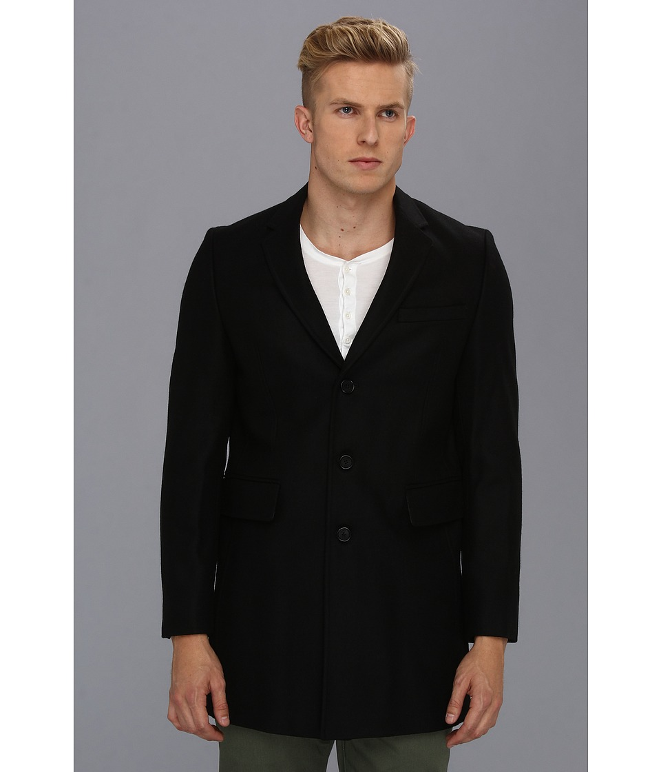 Ben Sherman - Wool Melton Three-Button Jacket (Jet Black) Men's Jacket
