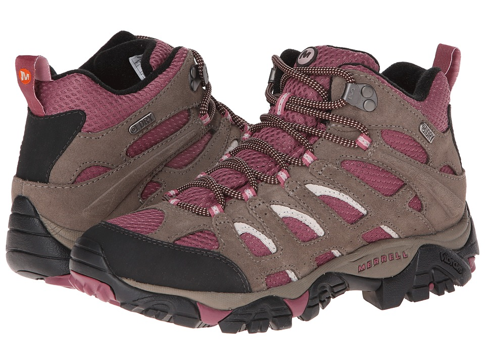 Merrell - Moab Mid Waterproof (Boulder/Blush) Women's Hiking Boots