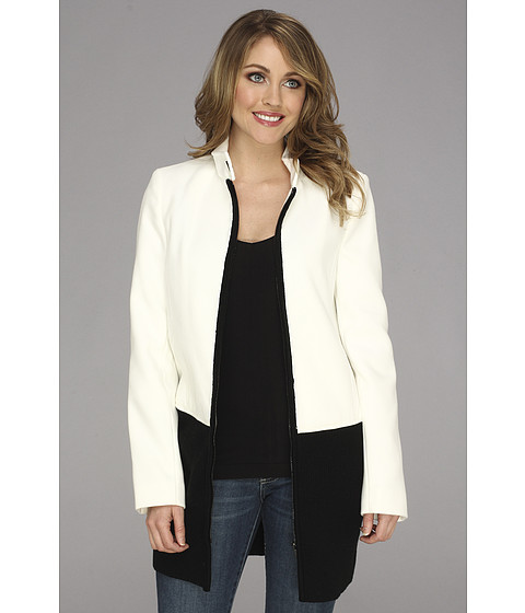 Calvin Klein - Melton Jacket w/ Sweater Trim (Birch) Women's Jacket