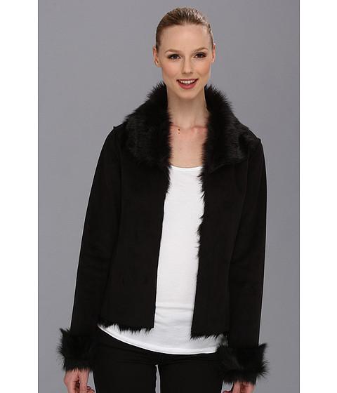 Calvin Klein - Faux Shearling Coat (Black) Women's Coat