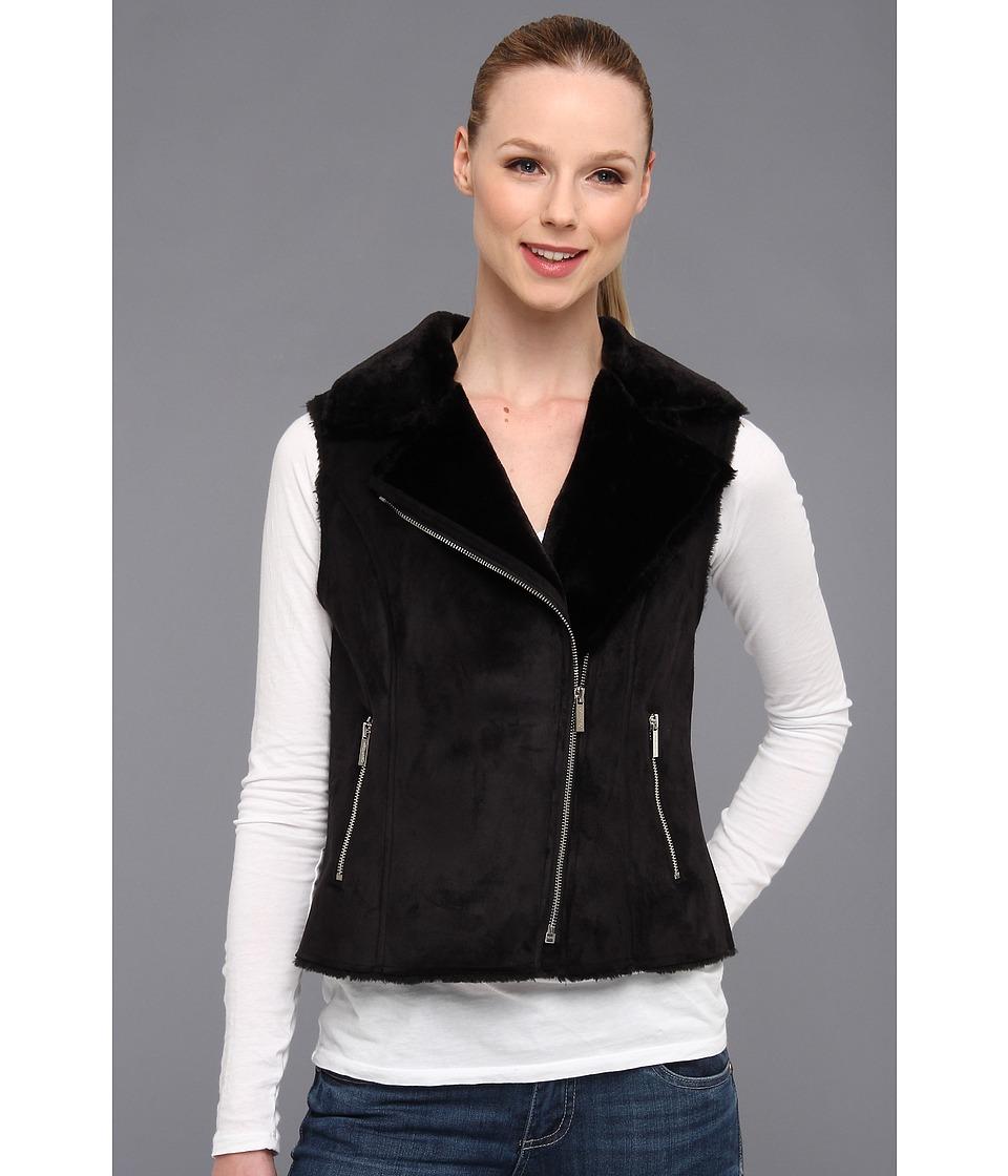 Calvin Klein - Faux Shearling Vest w/ Zip (Black) Women