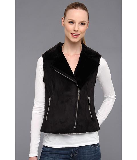 Calvin Klein - Faux Shearling Vest w/ Zip (Black) Women's Vest
