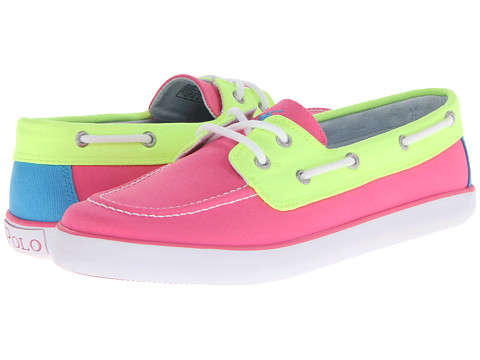 Polo Ralph Lauren Kids - Sander (Big Kid) (Hot Pink/Neon Yellow Colorblock Canvas) Girl
