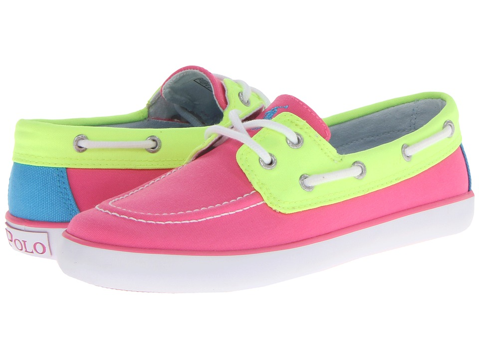 Polo Ralph Lauren Kids - Sander (Little Kid) (Hot Pink/Neon Yellow Colorblock Canvas) Girls Shoes