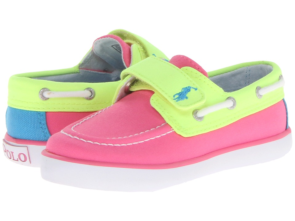 Polo Ralph Lauren Kids - Sander EZ (Toddler) (Hot Pink/Neon Yellow Colorblock Canvas) Girls Shoes
