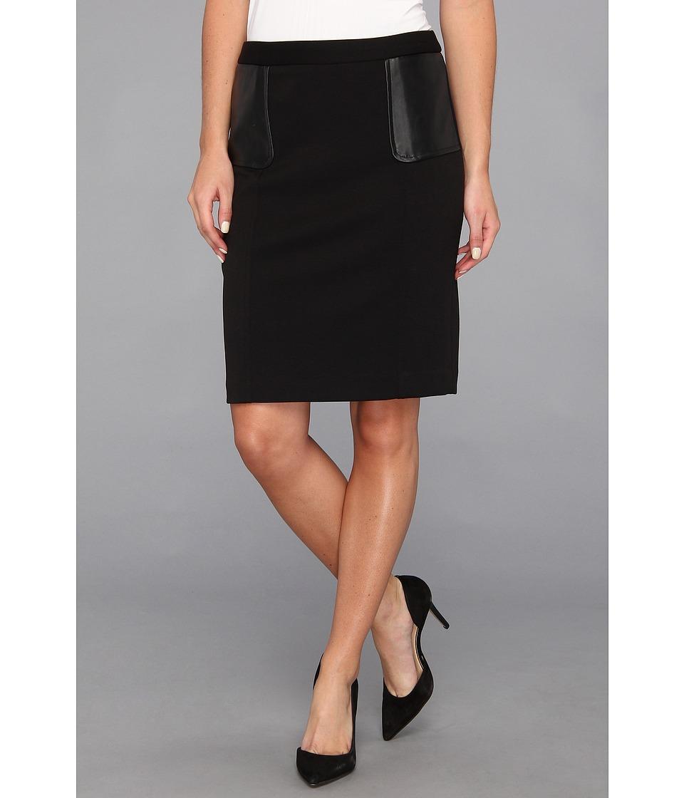 Calvin Klein - Ponte Skirt w/ Polyurethane Trim (Black) Women's Skirt