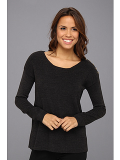 SALE! $49.99 - Save $40 on Calvin Klein Acrylic Sweater w Shoulder Buttons (Heather Charcoal) Apparel - 44.15% OFF $89.50