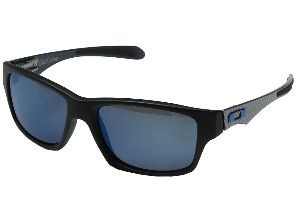 Oakley - Jupiter Carbon (Matte Black w/ Ice Iridium Polarized) Plastic Frame Sport Sunglasses
