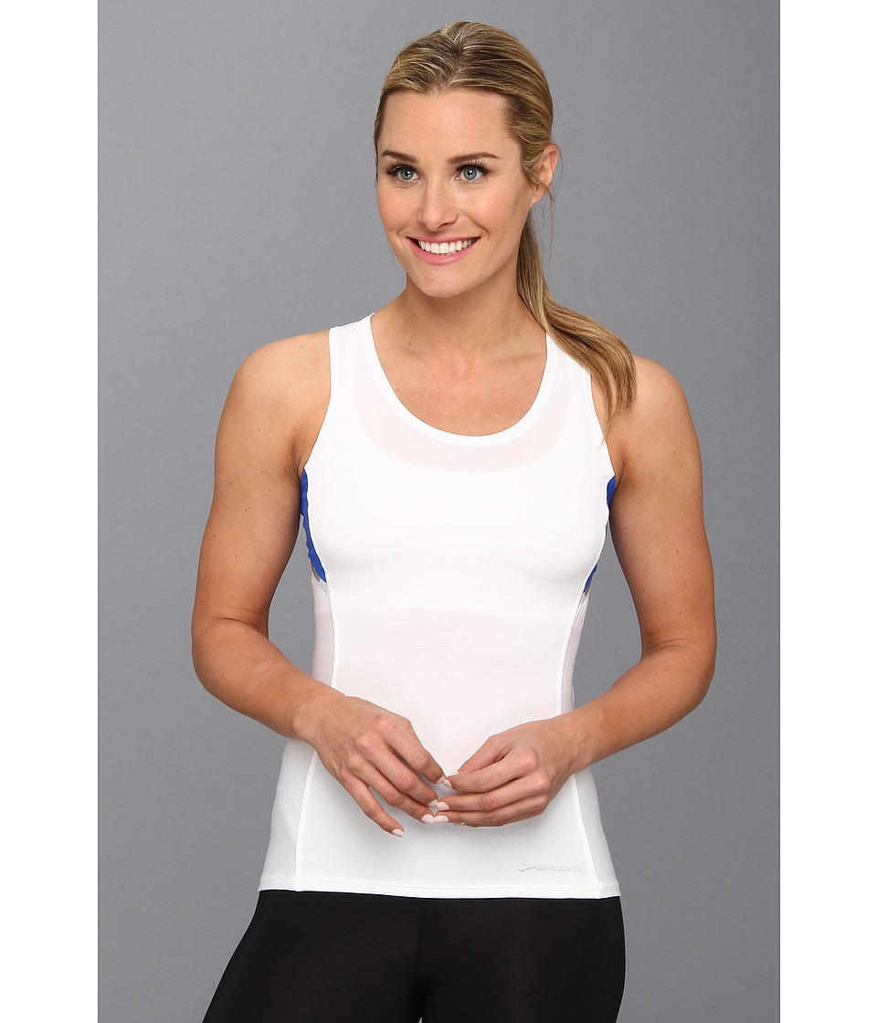 Brooks - Infiniti Sleeveless Top (White/Electric) Women's Sleeveless