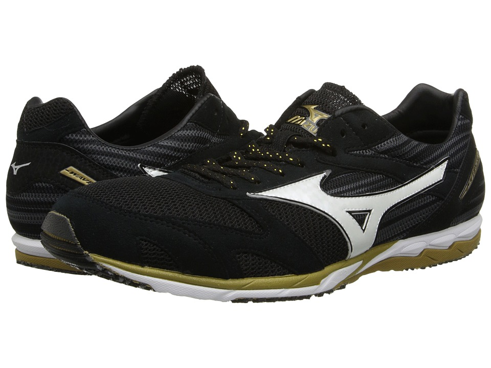 Mizuno - Wave(r) Ekiden (Black/White/Gold) Running Shoes