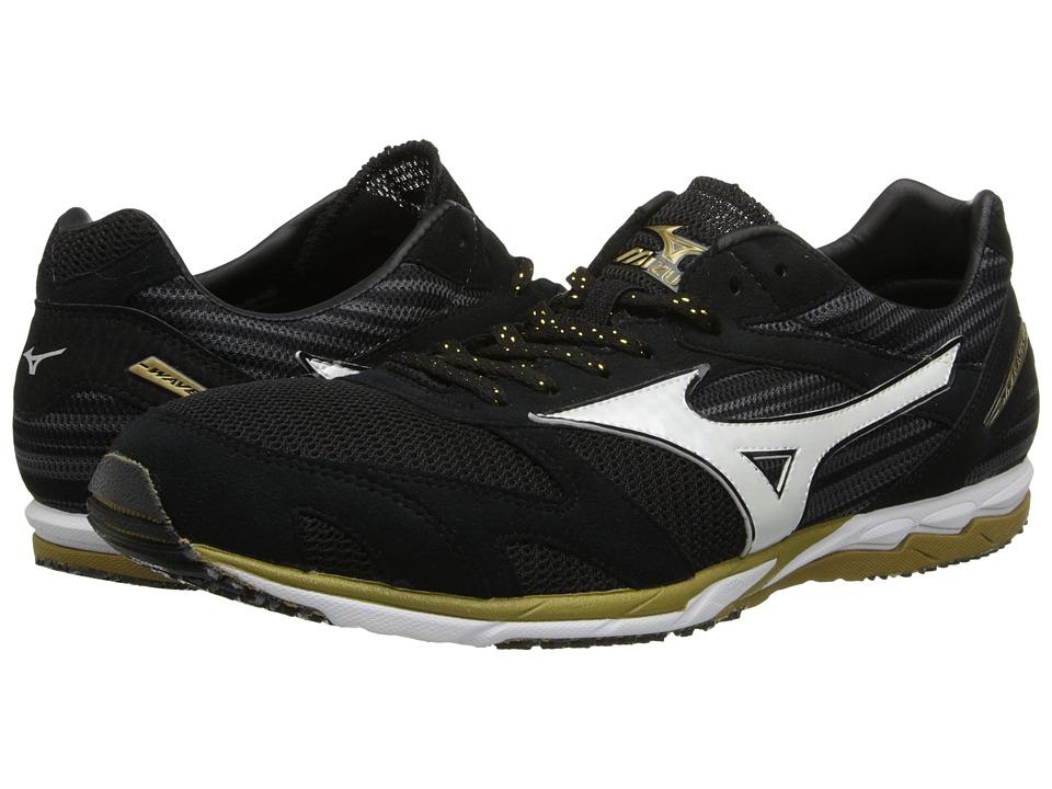 Mizuno - Wave(r) Ekiden (Black/White/Gold) Running Shoes