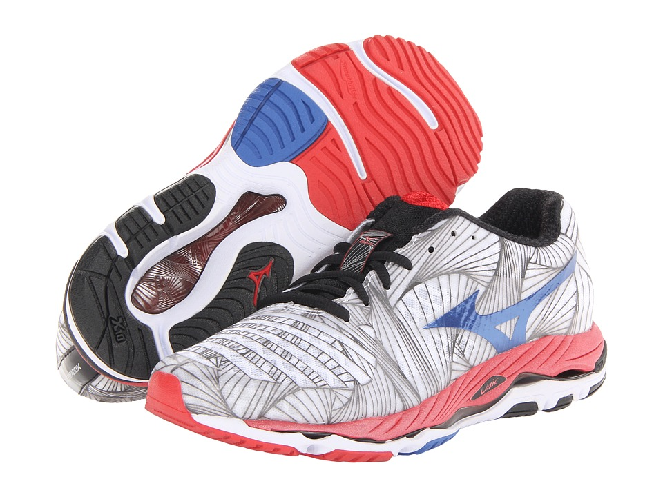 Mizuno - Wave Paradox (White/Olympian Blue/Chinese Red) Men's Running Shoes