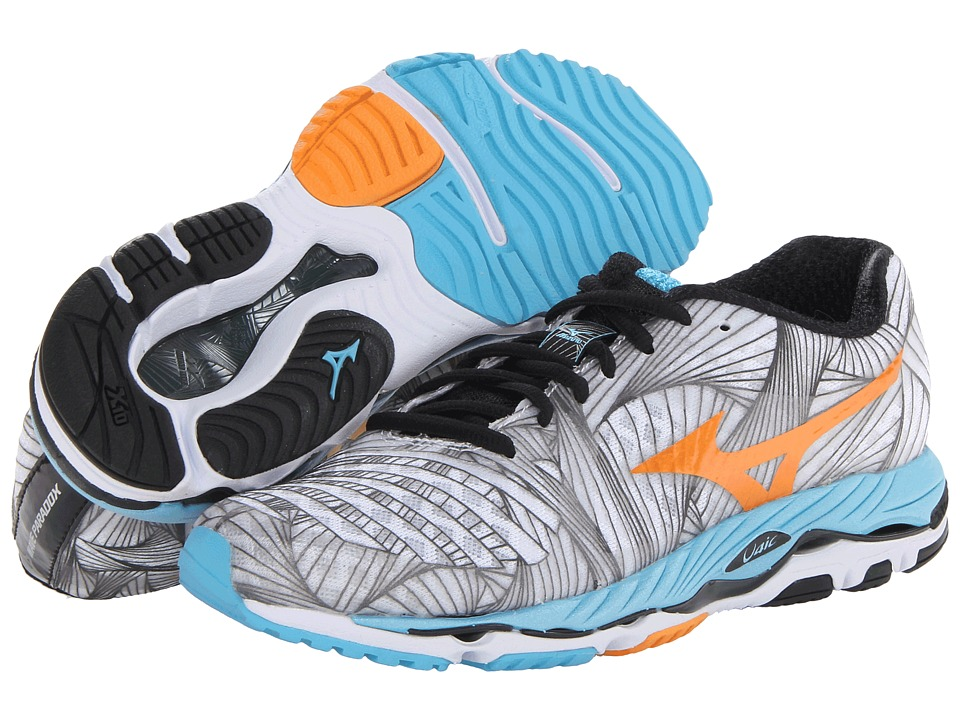 Mizuno - Wave Paradox (White/Bright Marigold/Aquarius) Women's Running Shoes