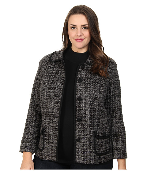 Pendleton - Plus Size Trina Trimmed Jacket (Black/Grey Tweed) Women