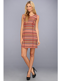 SALE! $34.99 - Save $103 on Donna Morgan Fitted V Neck w Color Block Dress (Brown Multi) Apparel - 74.64% OFF $138.00