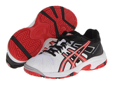 ASICS Kids - Gel-Resolution 5 GS (Little Kid/Big Kid) (White/Fiery Red/Black) Kids Shoes