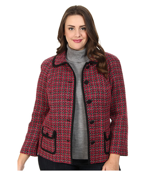 Pendleton - Plus Size Trina Trimmed Jacket (Black/Pink Tweed) Women's Coat