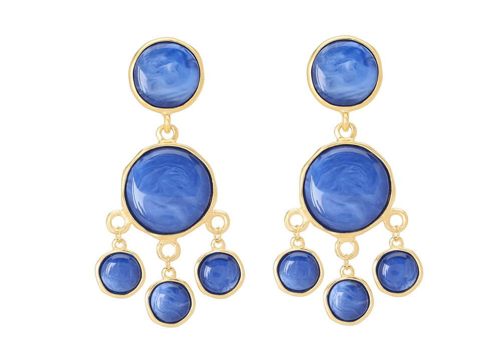 Kenneth Jay Lane - 7304ESGL Earrings (Gold/Lapis) Earring