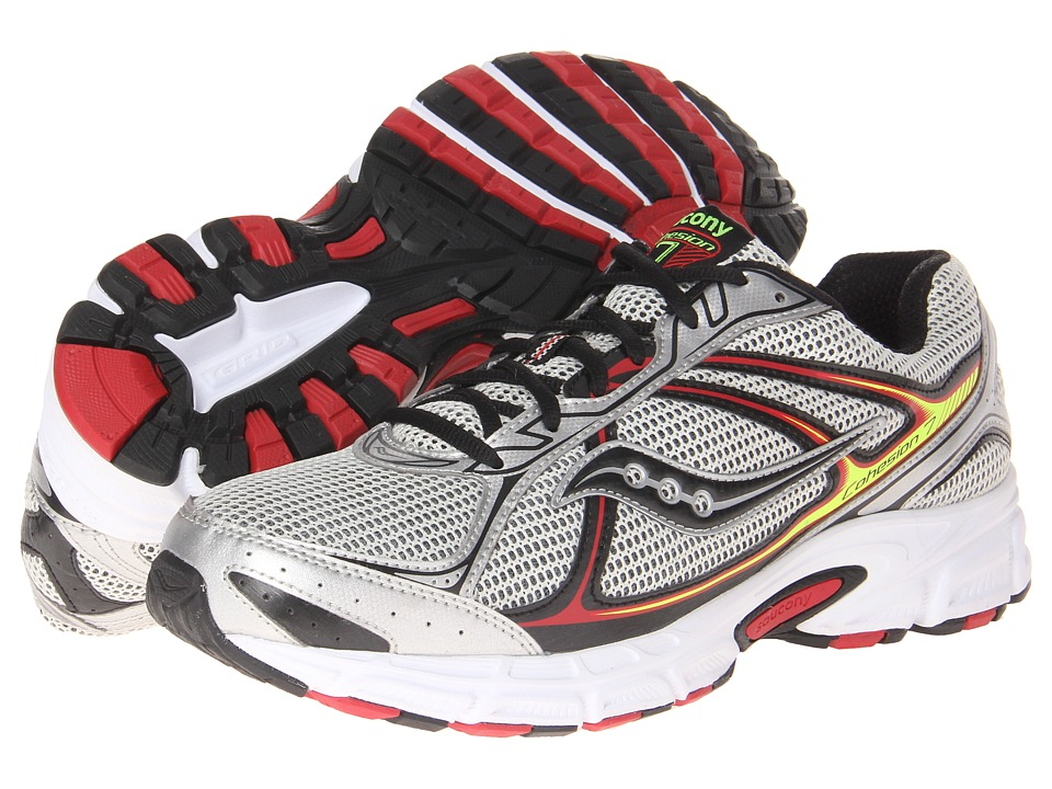 Saucony - Cohesion 7 (Silver/Black/Red) Men's Running Shoes