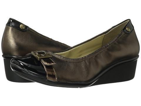 Anne Klein 7Dragonfly (Bronze Fabric/Bronze Patent) Women's Slip-on Dress Shoes