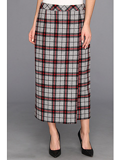 SALE! $81.99 - Save $97 on Pendleton Lorna Long Faux Wrap Skirt (Grey Mix Red Plaid) Apparel - 54.20% OFF $179.00