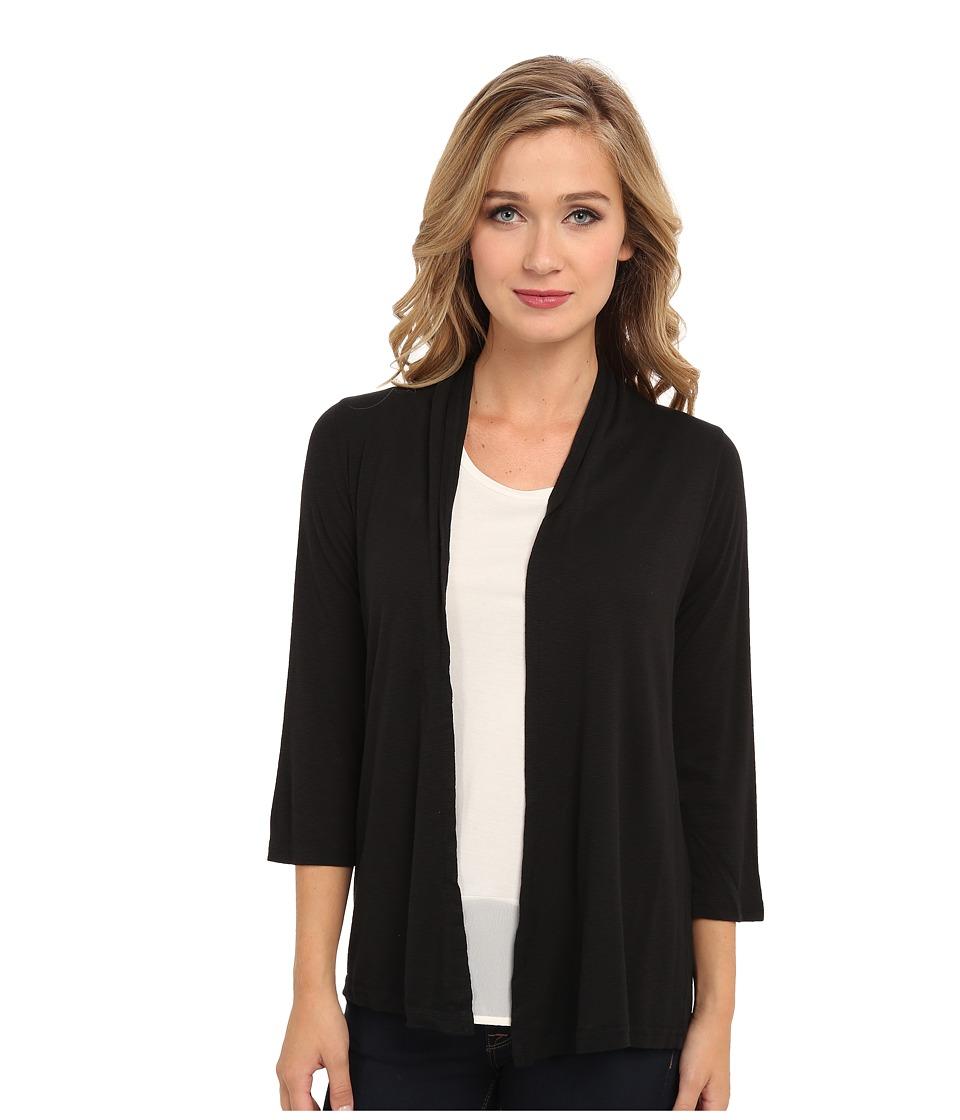 Michael Stars - Slub 3/4 Sleeve Open Cardigan (Black) Women's Sweater