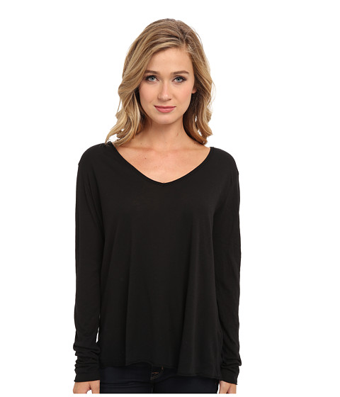 Michael Stars - Slub Long Sleeve V-Neck Tee (Black) Women's Clothing