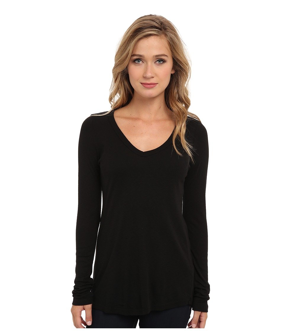 Michael Stars - Slub Long-Sleeve V-Neck Tee (Black) Women's Long Sleeve Pullover