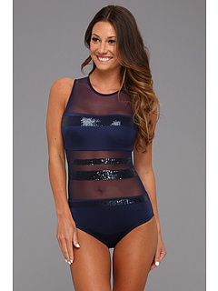 SALE! $87.99 - Save $52 on Vince Camuto Orange County High Neck Maillot (Estate Blue) Apparel - 37.15% OFF $140.00