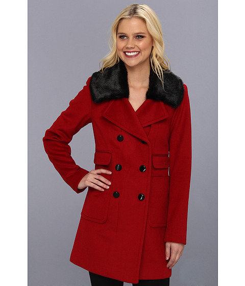 Ivanka Trump - Faux Fur Double Breasted Peacoat (Red) Women