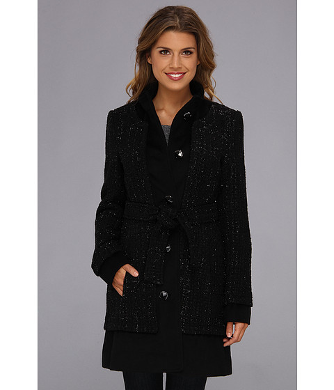 Ivanka Trump - Novelty Wool Coat w/ Faceted Buttons (Black) Women's Coat