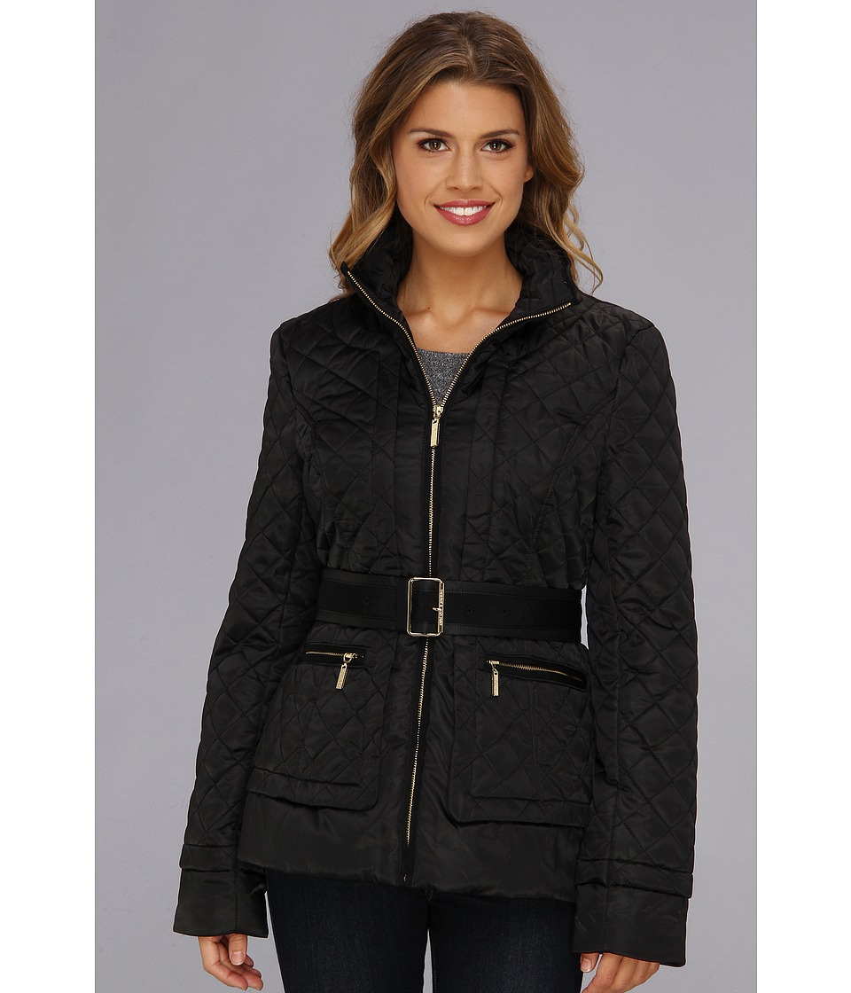 Ivanka Trump - Belted Quilt Jacket (Black) Women's Coat