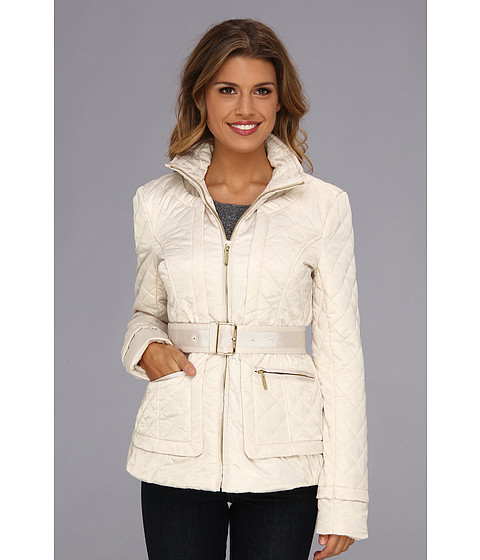 Ivanka Trump - Belted Quilt Jacket (Cream) Women's Coat