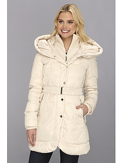 SALE! $139.99 - Save $90 on Ivanka Trump Single Breasted Box Quilt Coat w Hood (Cream) Apparel - 39.13% OFF $230.00