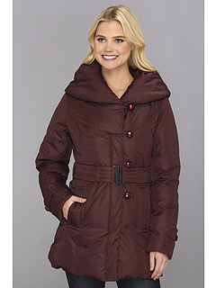 SALE! $106.99 - Save $87 on Ivanka Trump Pillow Collar Loop Button Coat (Burgundy) Apparel - 44.85% OFF $194.00