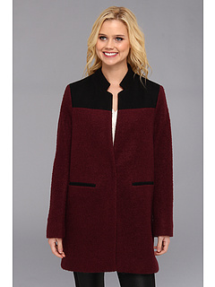 SALE! $69.99 - Save $255 on Kenneth Cole New York Single Breasted Boucle Coat w Melton on Shoulder (Concord) Apparel - 78.46% OFF $325.00