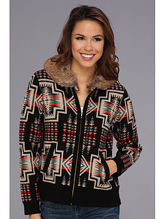 SALE! $154.99 - Save $74 on Pendleton Skilak Zip Cardigan w Detachable Faux Fur Collar (Black Multi) Apparel - 32.32% OFF $229.00