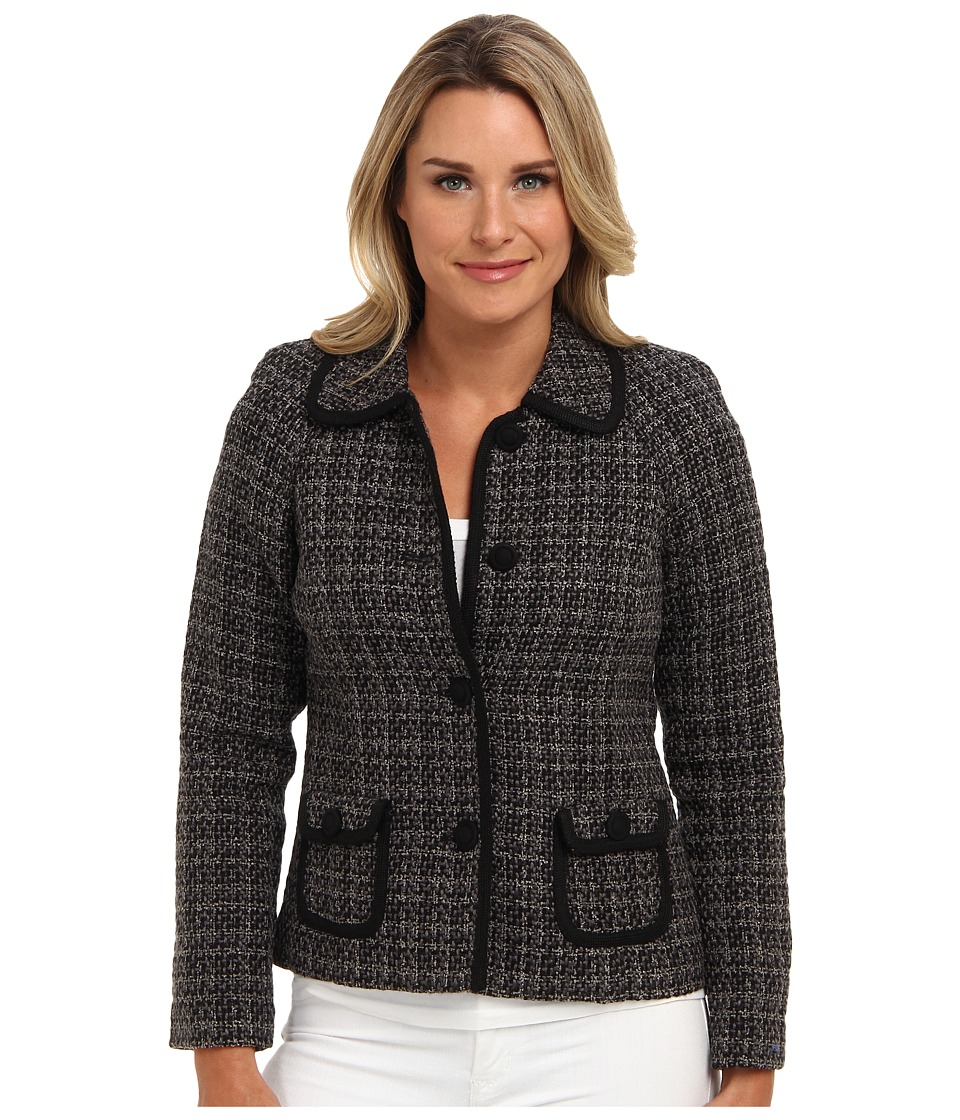 Pendleton - Trina Trimmed Jacket (Black/Grey Tweed) Women's Coat