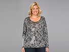 DKNY Jeans Plus Size Mixed Media Ghost Floral Print Cross Back Tunic