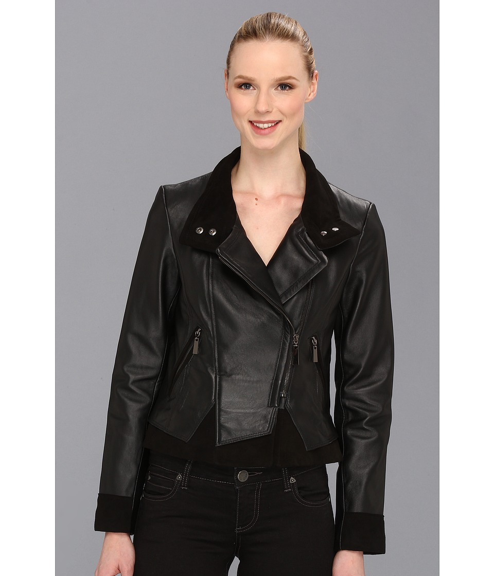 Vince Camuto - Asymmetrical Leather Jacket (Black) Women's Coat