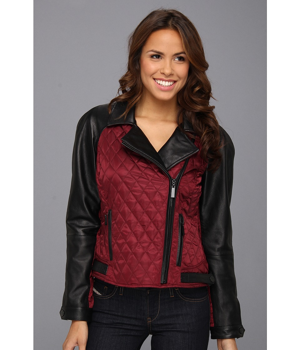Vince Camuto - Quilted Leather and Fabric Moto Jacket (Brick/Black) Women's Coat
