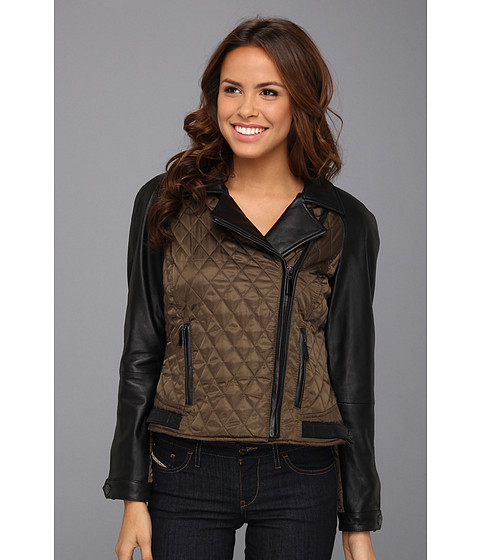 Vince Camuto - Quilted Leather and Fabric Moto Jacket (Olive/Black) Women's Coat