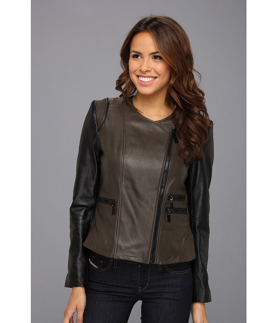 Vince Camuto - Collarless Two-Tone Leather Moto Jacket (Olive/Black) Women's Coat