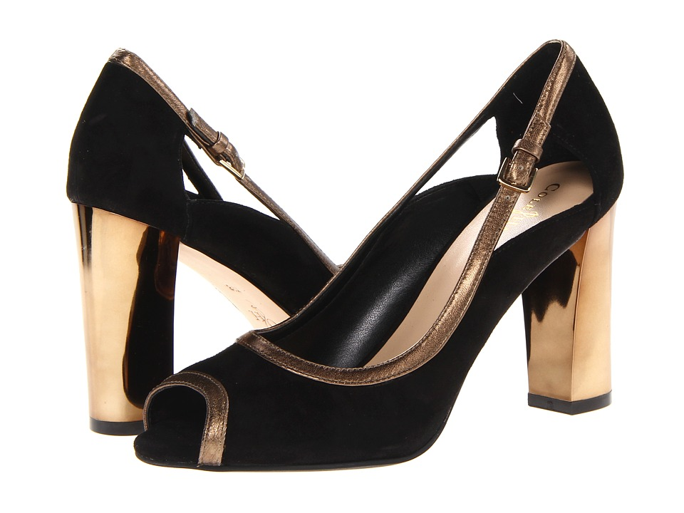 ... (Black Suede/Old Gold Metallic) Women's Shoes. UPC 718746894257 product  image for Cole Haan Corinne OT. Pump Womens Peep Toe Suede Pumps