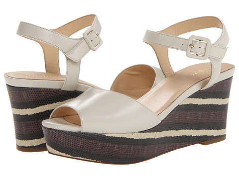 Womens Sandals Cole Haan Gillian Mid Wedge Ivory/Chestnut Stripe Lizard