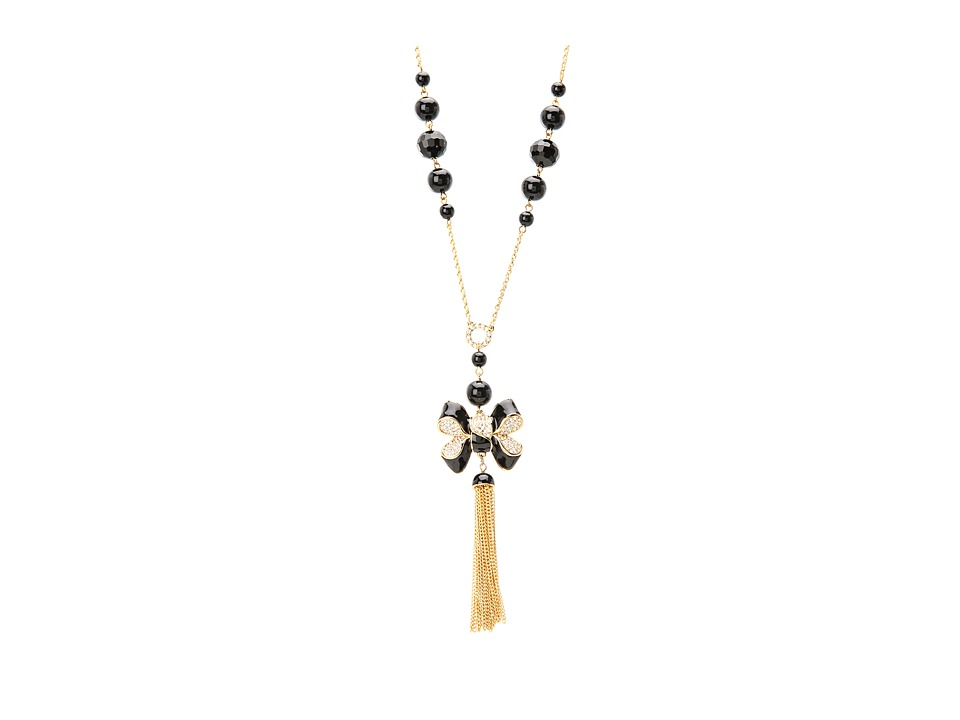 My Flat In London - Miss Khloe Tassel Necklace (Gold/Black/Pearl) Necklace