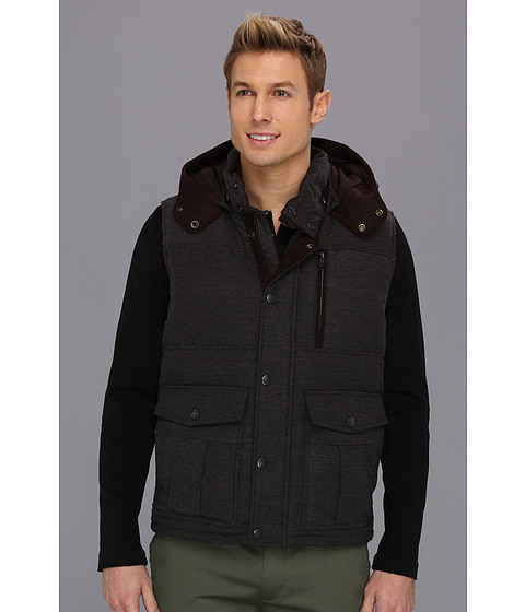Vince Camuto - Down Filled Vest w/ Hood (Charcoal) Men's Vest