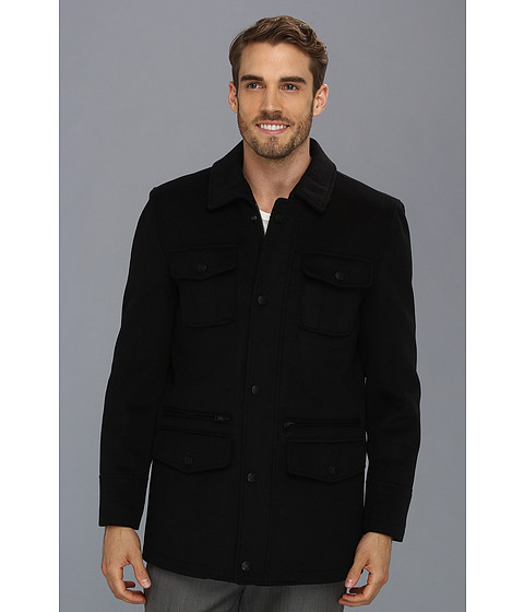 Vince Camuto - Storm System Melton Utility Jacket (Black) Men's Coat